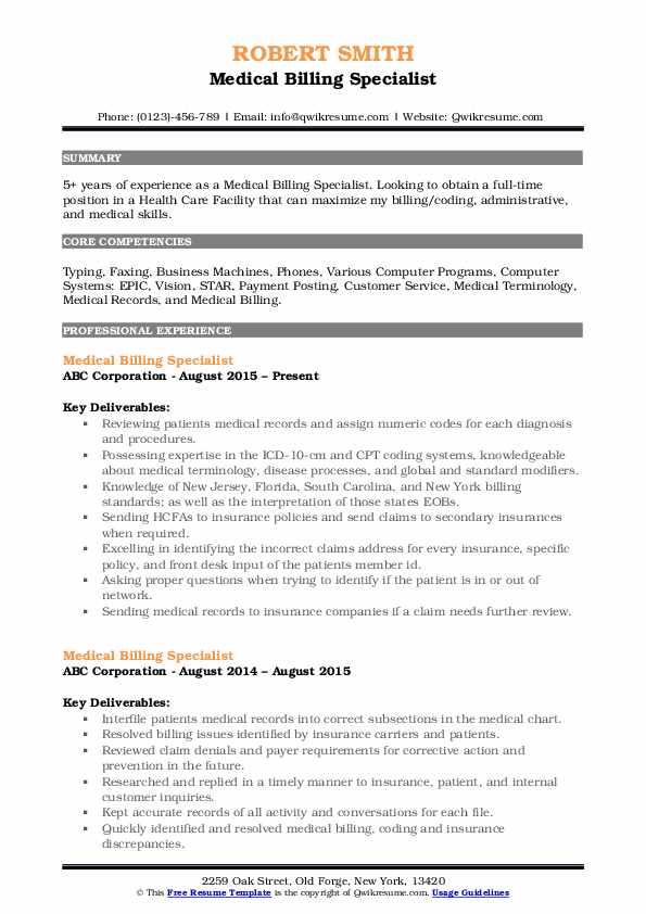 Medical Billing Specialist Resume Sample