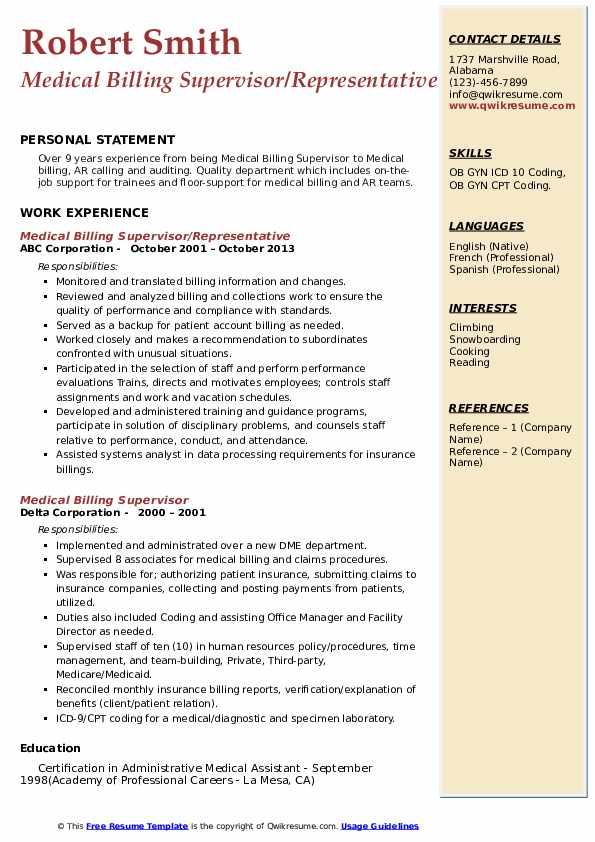 medical billing supervisor resume samples  qwikresume