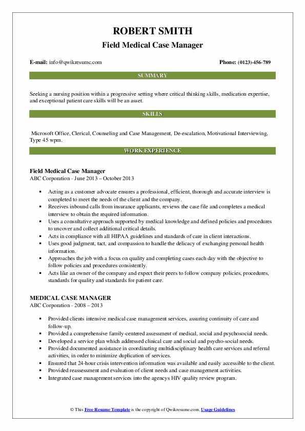 Field Medical Case Manager Resume Format