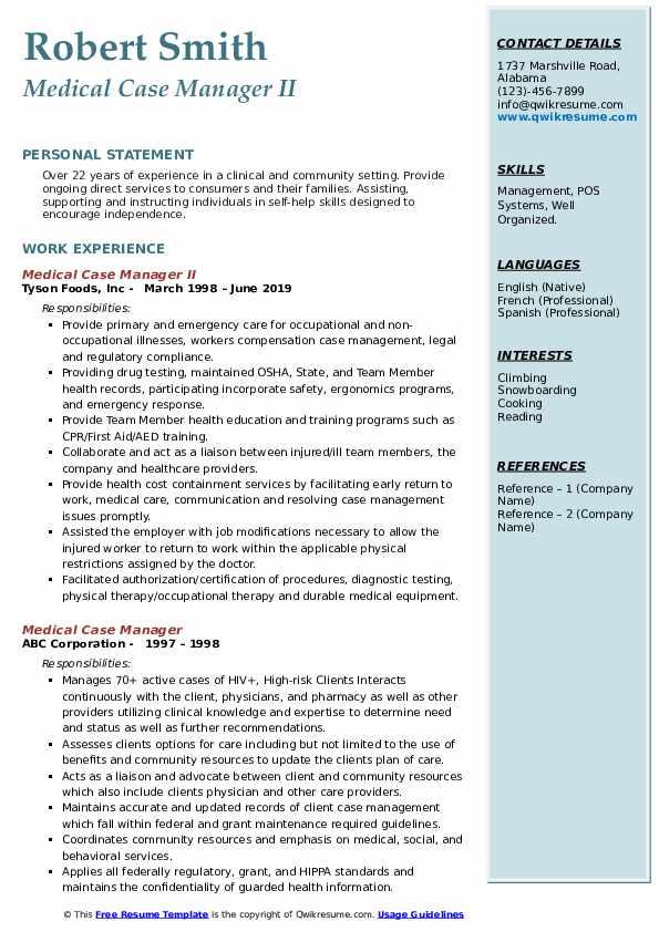 Medical Case Manager II Resume Format