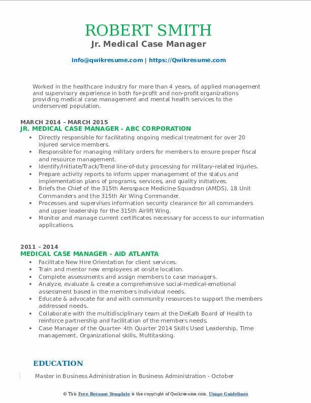 Jr. Medical Case Manager Resume Format