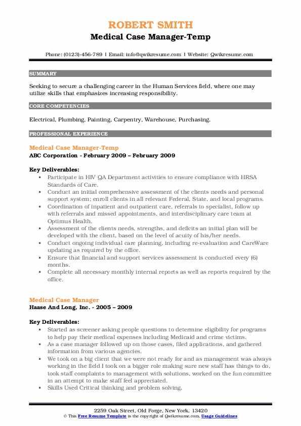 Medical Case Manager-Temp Resume Format