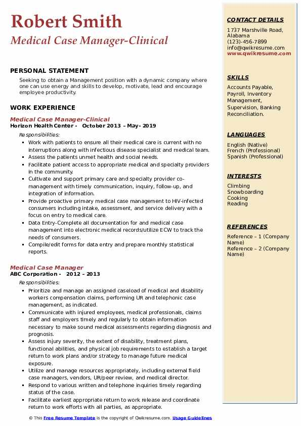 Medical Case Manager-Clinical Resume Format