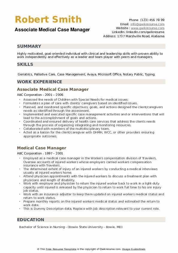 Associate Medical Case Manager Resume Model