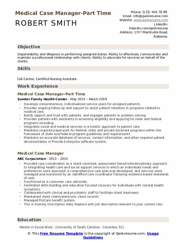 Medical Case Manager-Part Time Resume Template