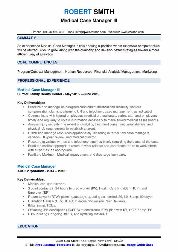 Medical Case Manager III Resume Template