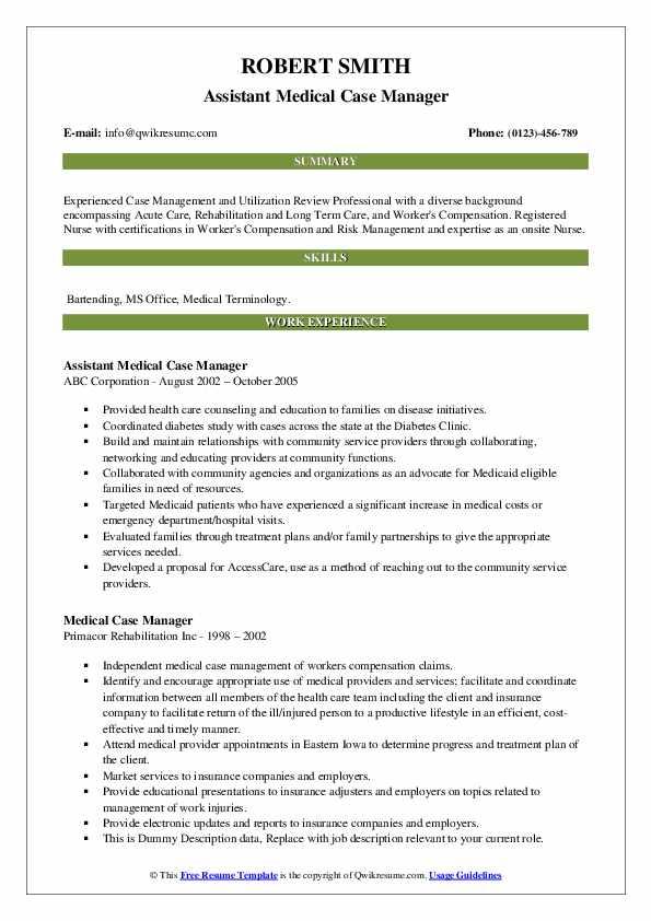 Assistant Medical Case Manager Resume Format