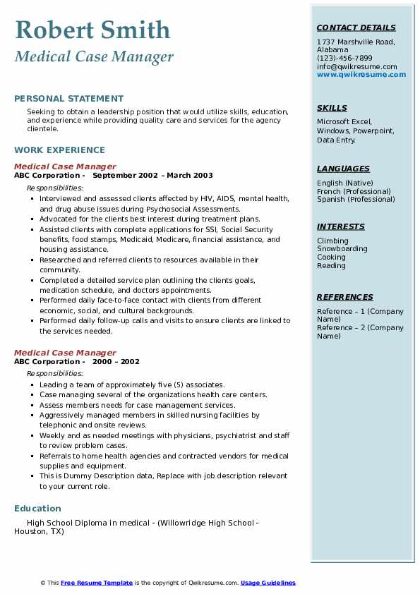 Medical Case Manager Resume example