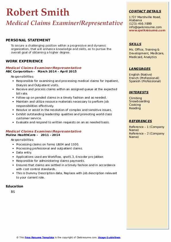 medical claims examiner resume samples