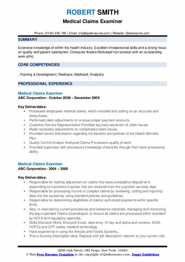 Medical Claims Examiner Resume example
