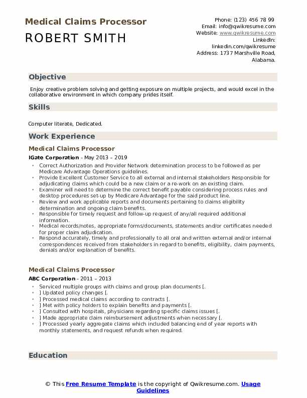 Medical Claims Processor Resume Template
