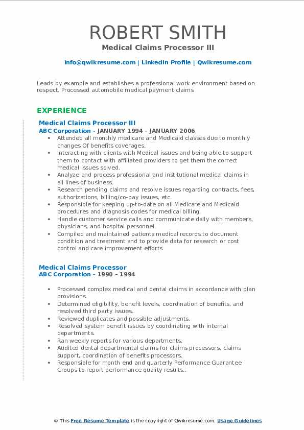 Medical Claims Processor III Resume Format