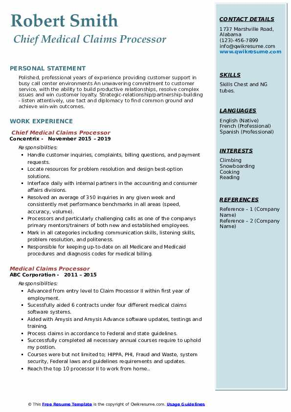 Chief Medical Claims Processor Resume Model