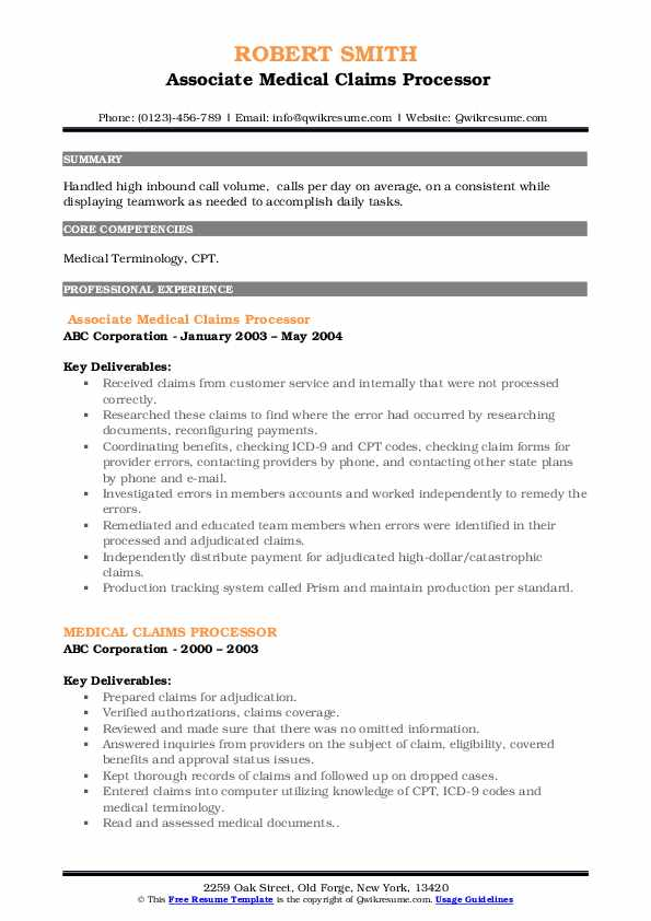 Associate Medical Claims Processor Resume Sample