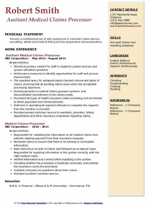 Assitant Medical Claims Processor Resume Template