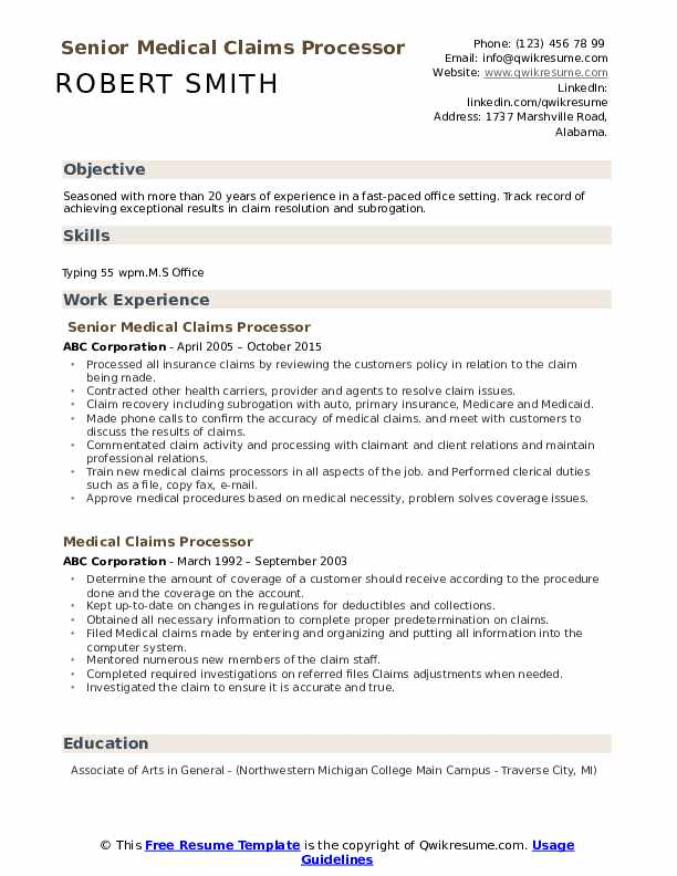 Senior Medical Claims Processor Resume Template