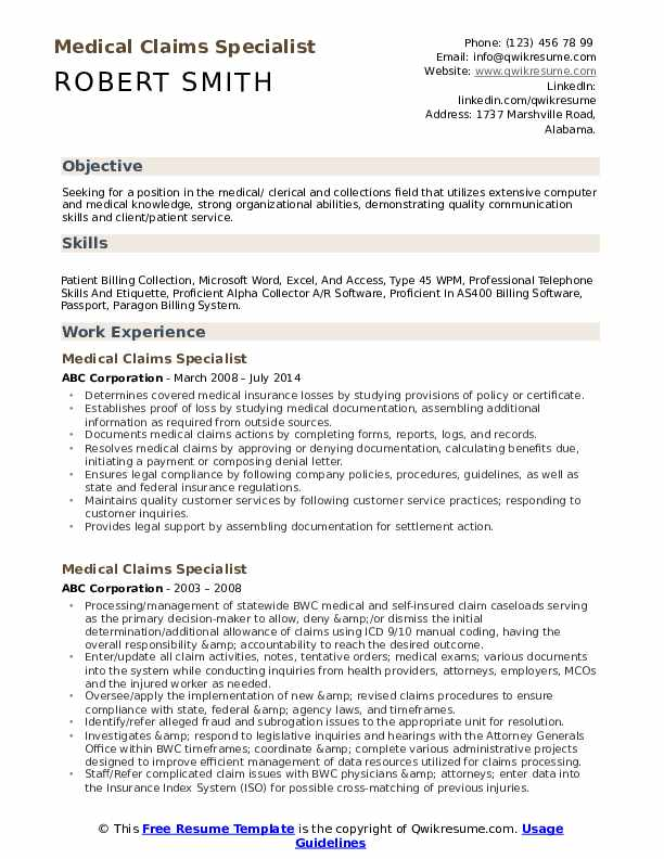 Medical Claims Specialist Resume Example