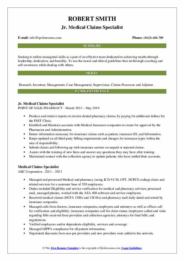 Jr. Medical Claims Specialist Resume Format