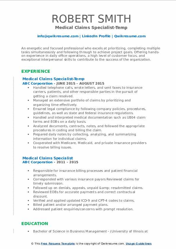 Medical Claims Specialist-Temp Resume Format