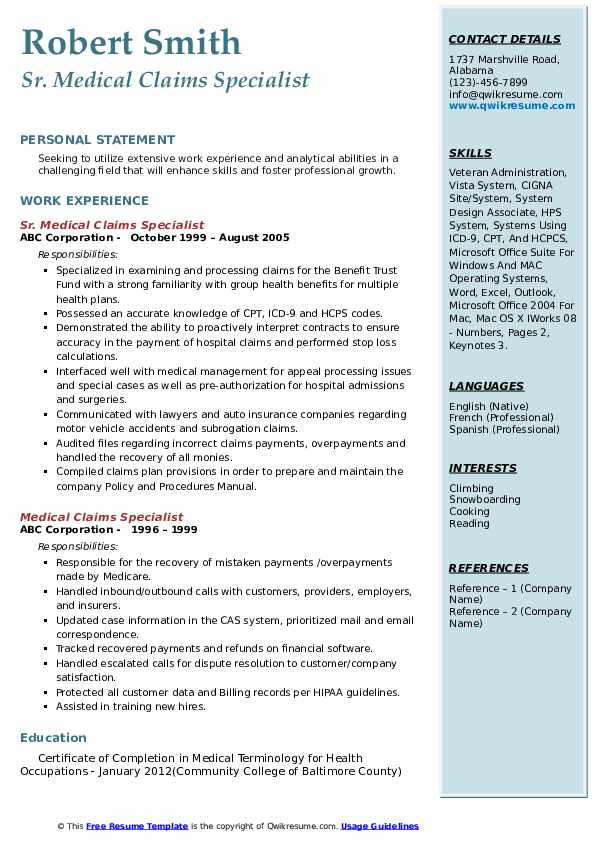 Sr. Medical Claims Specialist Resume Format