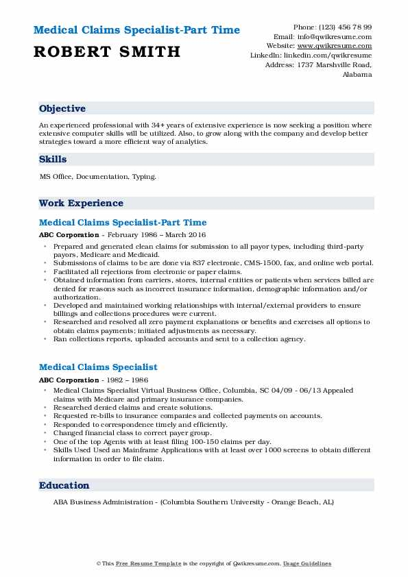 Medical Claims Specialist-Part Time Resume Format