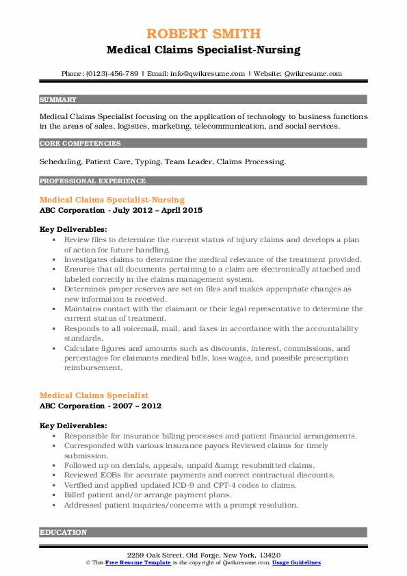 Medical Claims Specialist-Nursing Resume Format
