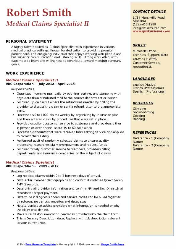 Medical Claims Specialist II Resume Template