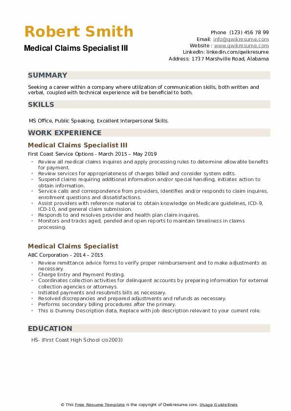 Medical Claims Specialist III Resume Template