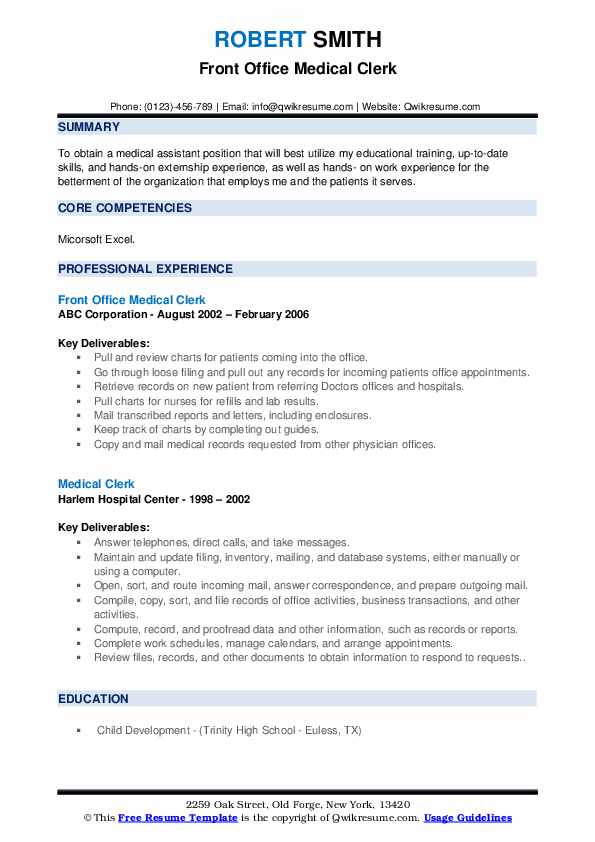 Front Office Medical Clerk Resume Example