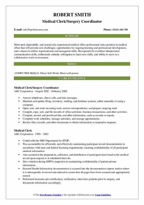 Medical Clerk/Surgery Coordinator Resume Example
