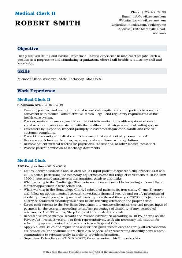 Medical Clerk II Resume Example