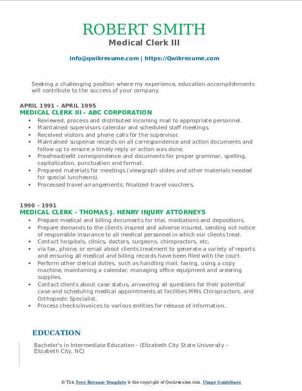 Medical Clerk III Resume Format
