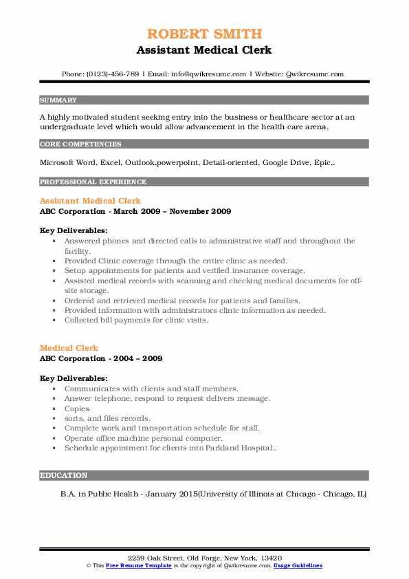 Assistant Medical Clerk Resume Format