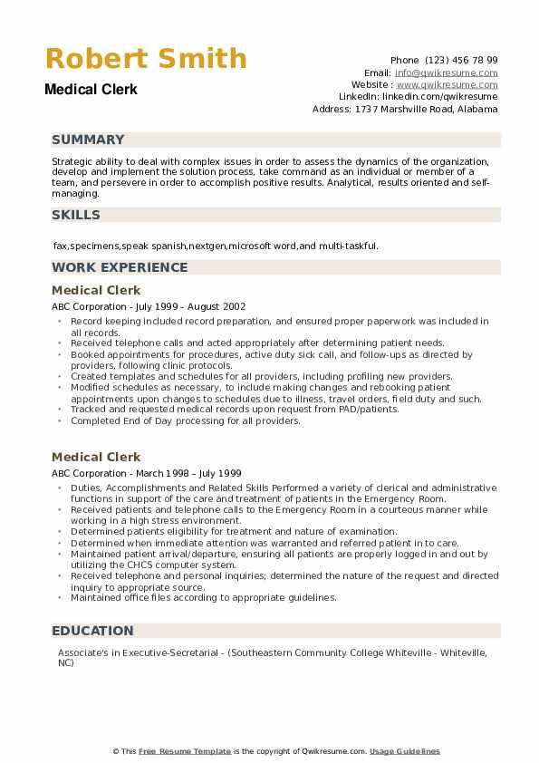 Medical Clerk Resume example