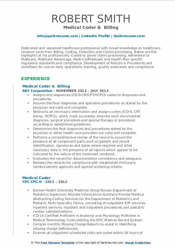 medical coder resume samples