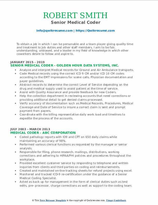 medical coder resume samples  qwikresume