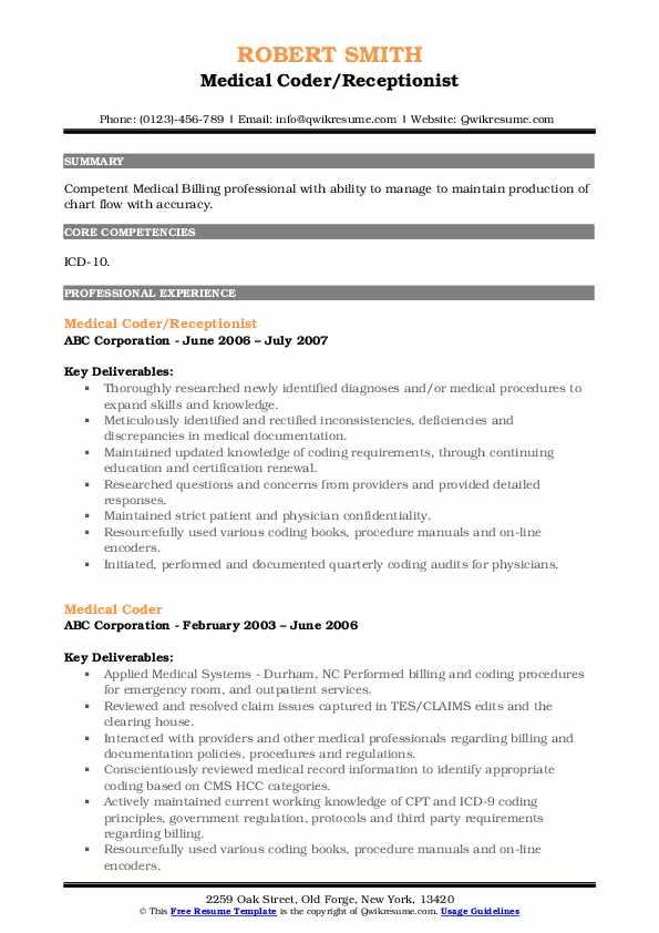 Medical Coder Resume Samples | QwikResume