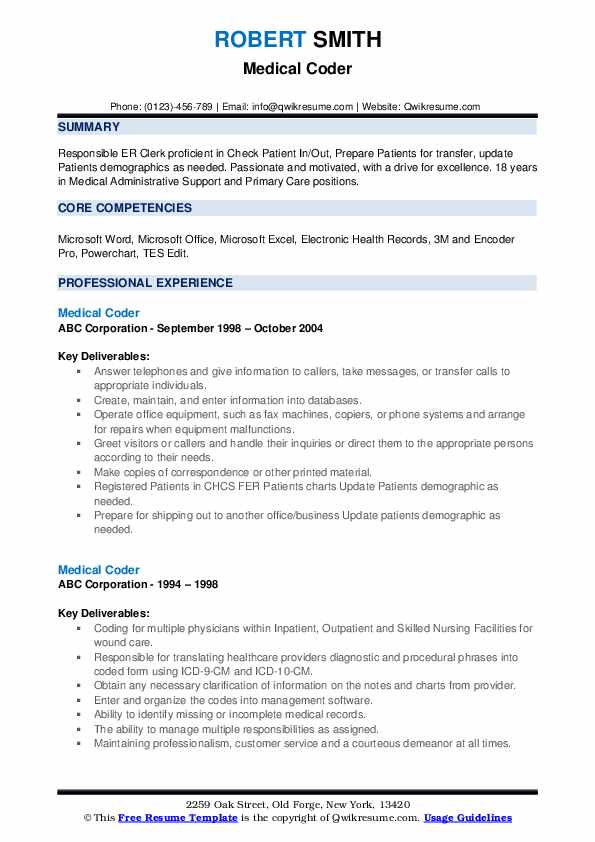 Medical Coder Resume example