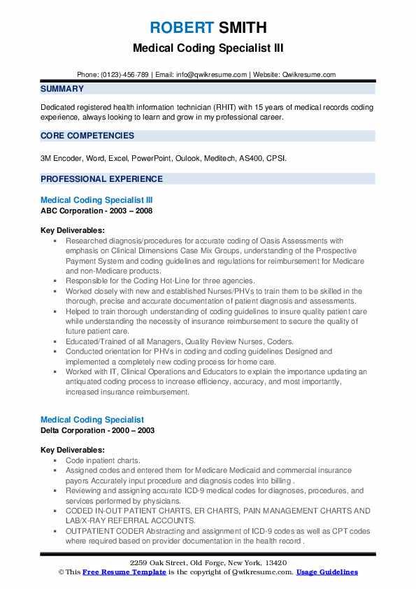 medical coding specialist resume samples  qwikresume