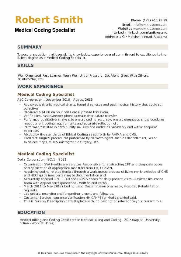 Medical Coding Specialist Resume example