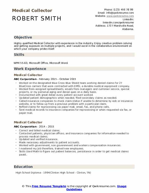 Medical Collector Resume Model
