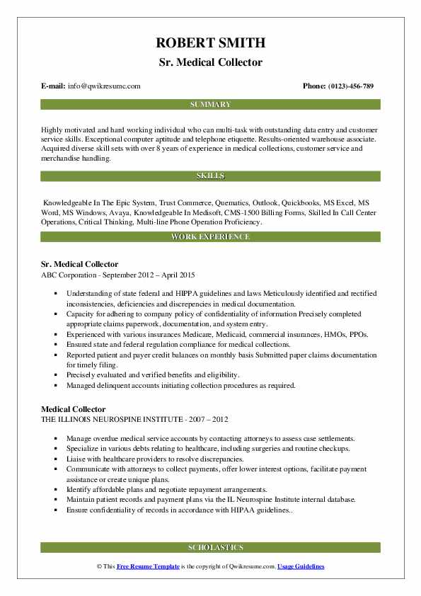 Sr. Medical Collector Resume Sample