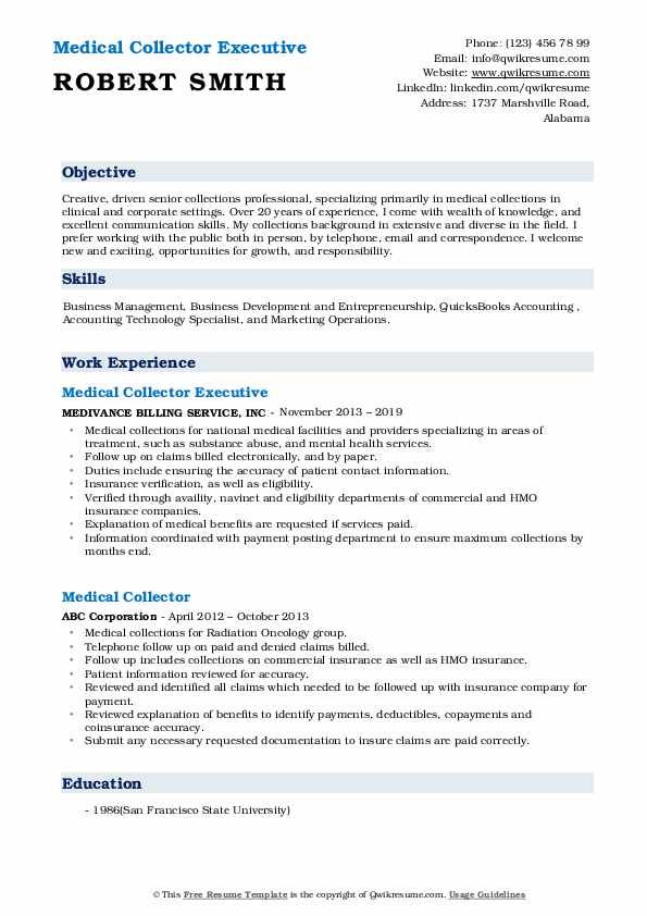 Medical Collector Executive Resume Example