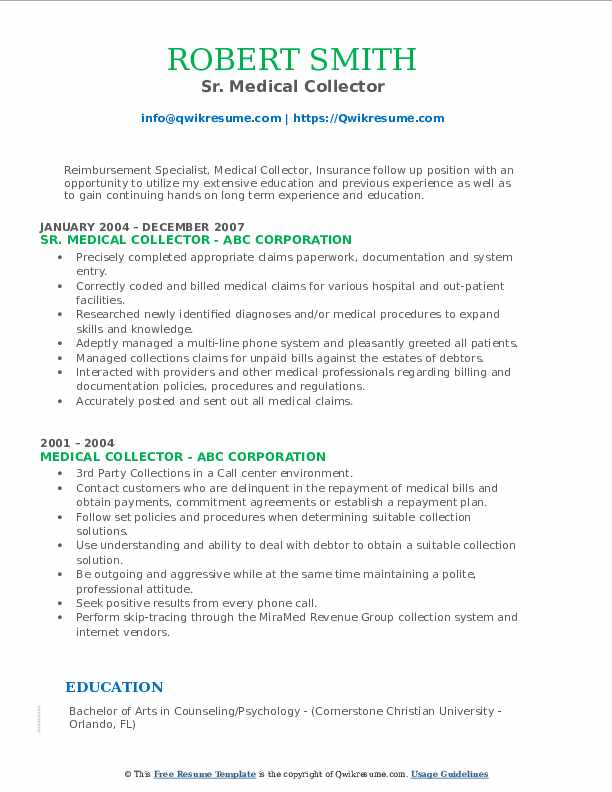 Sr. Medical Collector Resume Model