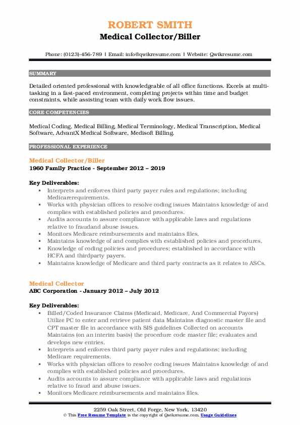 Medical Collector/Biller Resume Sample