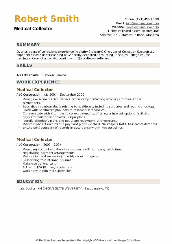 Medical Collector Resume example