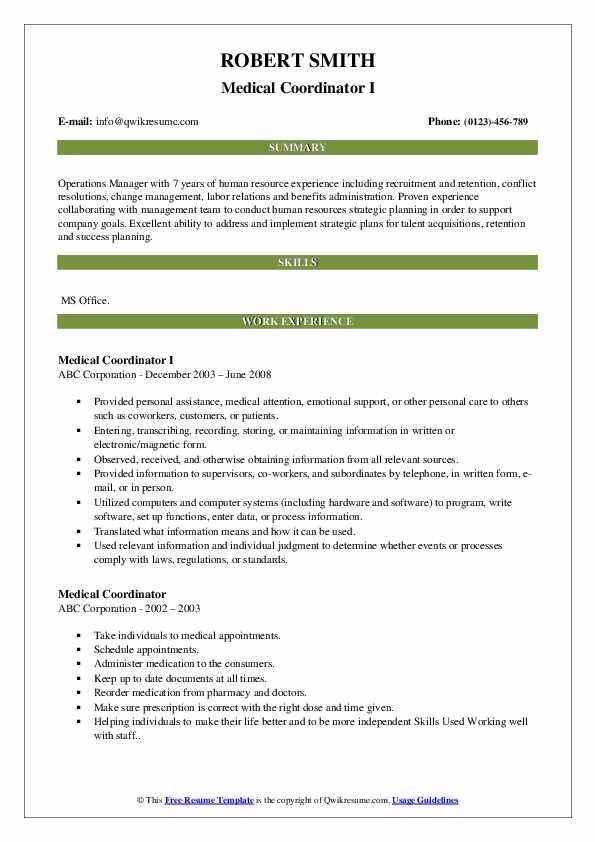 Medical Coordinator I Resume Template