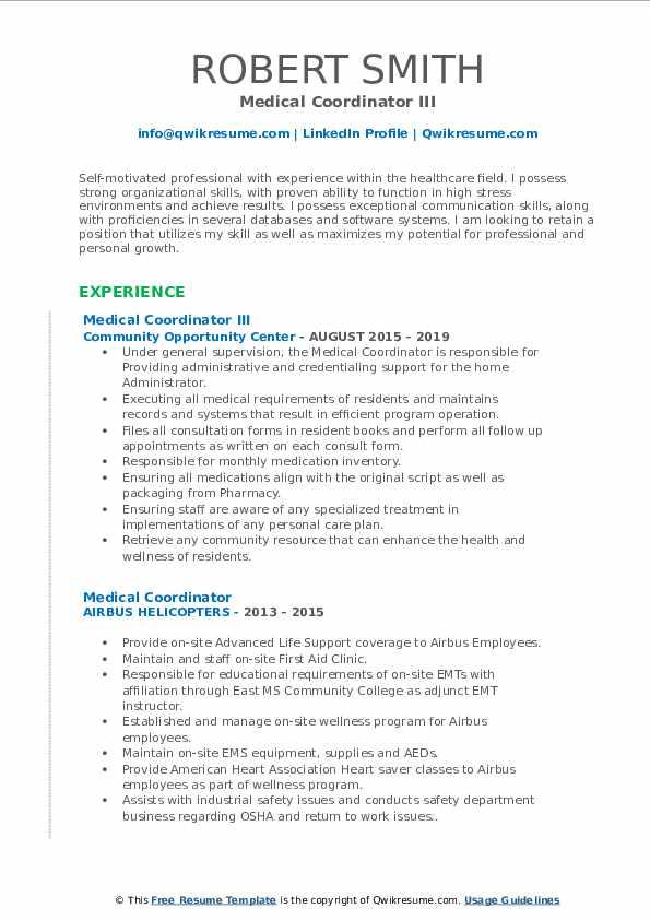 Medical Coordinator III Resume Example