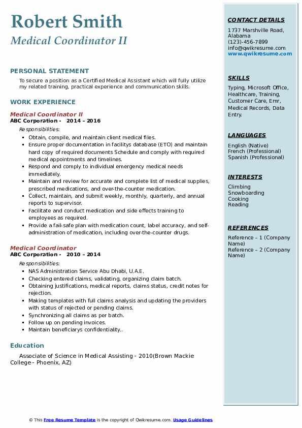Medical Coordinator II Resume Example