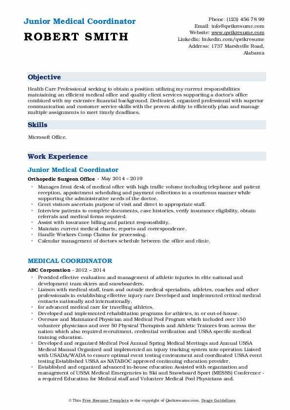 Junior Medical Coordinator Resume Example